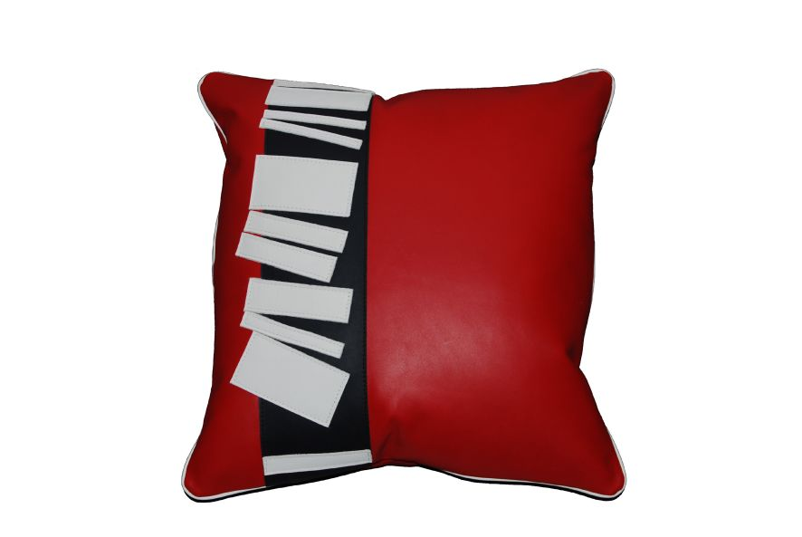 coussin en cuir bande rouge. Black Bedroom Furniture Sets. Home Design Ideas